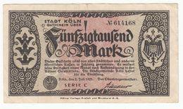 Billet Allemagne -  50000 Mark - Koln  2 Juli 1923  -  N° 614168 - [ 3] 1918-1933 : Weimar Republic