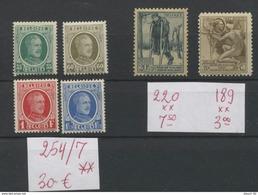 Houyoux Roi Albert Ier  254/257 ** Et 189 Et 220 **  C: 40 E - Belgium