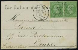Lettre Le Ferdinand Flocon, Carte Avec Mention Par Ballon Non Monté Timbe à Droite,  Affranchie à 2 X 5c Vert Paris 3 No - Stamps