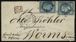Lettre Le Newton, LSM Affranchie à 40c, N° 29B X 2ex, Càd Paris 60, 2 Janv 71, Pour Worms Grand Duché De Hesse, Sans Arr - Stamps