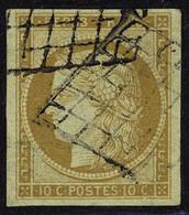 Oblitéré N° 1, 10c Bistre Jaune, T.B. Signé A Brun - Stamps