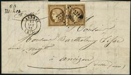 Lettre N° 1. 10c, Bistre, Paire Horizontale S/L Oblitérée Grille + CàD Arbeau 13 Nov 52 + Cursive 63 Heches. Superbe. - Stamps