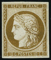 Neuf Sans Gomme N° 1, 10c Bistre Essai Sur Bristol, T.B. - Stamps