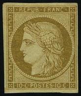 Neuf Avec Charnière N° 1a, 10c Bistre Brun, 2 Infirmes  Point De Rousseurs Sinon T.B. Signé Calves - Stamps