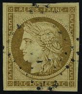 Oblitéré N° 1a, 10c Bistre, Cérès Obl Los PC Signé Roumet - Stamps