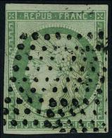 Oblitéré N° 2, 15c Vert Obl Losance De Points Muets T.B. Signé Calves - Stamps