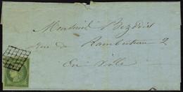 Lettre N° 2b, 15c Vert Foncé Seul Sur L Obl Grille, Pour Paris, Au Verso Càd Paris 28 Juil 51. Maury - Stamps