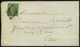 Lettre N° 2b, 15c Vert Foncé, Obl. Grille, Seul Sur L Pour Paris, Au Verso Cachet Levée De 2h1/2 Du Soir, Et Arrivée Par - Stamps