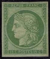 Neuf Avec Charnière N° 2e, 15c Vert Vif Clair, Réimpression T.B. - Stamps