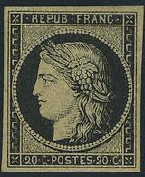 Neuf Avec Charnière N° 3, 20c Noir Sur Jaune, T.B. Signé JF Brun - Stamps