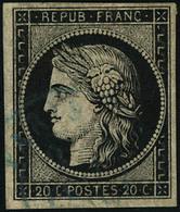 Oblitéré N° 3. 20c Noir Sur Jaune, Càd Bleu, T.B. Cote Maury - Stamps