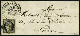 Lettre N° 3, 20c Noir Obl Grille + Càd Tupe 13 Verdun Sur Saone 22 Aout 50 Pour Paris, Taxe 05 Manuscrite à L'arrivée, T - Stamps