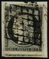 Oblitéré N° 3c, 20c Gris Noir Sur Petit Fragment, 1 Voisin T.B. Signé Calves - Stamps