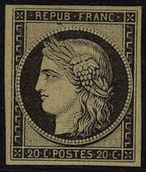 Neuf Avec Charnière N° 3f, 20c Noir Sur Jaune, Réimpression, T.B. - Stamps
