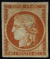 Neuf Avec Charnière N° 5, 40c Orange Réparé, Aspect Superbe - Stamps