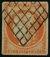 Oblitéré N° 5, 40c Orange Obl Grille T.B. Signé Brun - Stamps