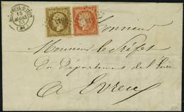 Lettre N° 5 + 9, 40c Orange Vif + 10c Bistre Foncé Sur L Tarif à 50c Double Port, De Breteuil Sur Iton à Evreux 15 Mars  - Stamps