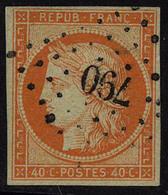 Oblitéré N° 5a, 40c Orange Vif, Oblitération Légère Los PC 790, T.B. Signé + Certificat Roumet - Stamps