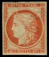 Neuf Avec Charnière N° 5g, 40c Orange Réimpression, T.B. - Stamps