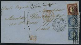 Lettre N° 6, + Paire Du N° 4 Aff. A 1.50 Obl Grille Sans Fin + Cachet à Date Pointe à Pitre 27 Sept 52 Avec Mention Timb - Stamps