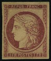 Neuf Avec Charnière N° 6F, 1f Carmin Réimpression Gomme Partielle, T.B. - Stamps