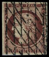 Oblitéré N° 6b, 1f Carmin Foncé Oblitéré Grille Sans Fin, T.B. Signé JF Brun - Stamps