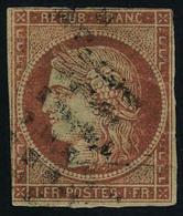 Oblitéré N° 7, 1f Vermillon Obl. Gros Points, Défauts Mais Bon Aspect, Signé + Certificat JF Brun - Stamps