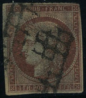 Oblitéré N° 7, 1f Vermillon Obl Grille, Avec Défauts, Bon Aspect, Signé Calves + Certificat Brun - Stamps