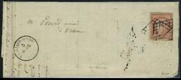 Lettre N° 7, 1f Vermillon Sur L Oblitéré Grille, Très Jolie Nuance, Bien Margé, T.B. Signé + Certificat Calves (le Timbr - Stamps