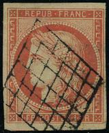 Oblitéré N° 7a, 1f Vermillon Vif, Couleur Exceptionnelle, Superbe, Signé + Certificat - Stamps