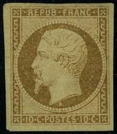 Neuf Avec Charnière N° 9, 10c Bistre, 4 Grandes Marges équilibrées, Superbe Et RRR, Signé Calves, Brun + Certificat. - Stamps
