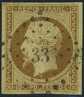Oblitéré N° 9, 10c Bistre Jaune, Los PC 33, T.B. Signé A Brun - Stamps