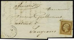 Lettre N° 9, 10c Bistre Brun Sur L Los PC 2923 + Càd Sougeons (58) 18 Juil 53, Pour Sougeons, Obl. Légère, Belles Marges - Stamps