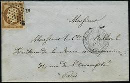 Lettre N°9. 10c Bistre-jaune S/Lettre Obl. étoile Et CàD Lettre Affr. De Paris Pour Paris 13 Janv 54 Avec Correspondance - Stamps