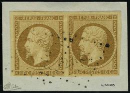 Fragment N° 9a, 10c Bistre Brun Paire Horizontale Obl Sur Fragment T.B. Signé Calves - Stamps