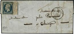 Lettre N°10. 25c Bleu. BdF Avec Filet D'encadrement S/lettre. Timbre Touché En Haut. Bon Aspect. Signé Calves. Cote Maur - Stamps