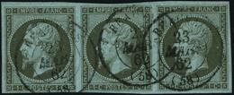 Oblitéré N°11. 1c Olive. Bande Horizontale De 3ex. T.B. - Stamps