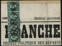 Fragment N°11. 1c Olive. Bande Horizontale De 4. Obl. Cachet à Daté S/Fragment De Journal. T.B. - Stamps