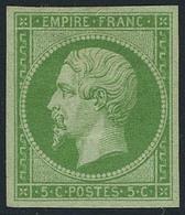 Neuf Avec Charnière N° 12, 5c Vert, Jolies Marges, T.B. Signé JF Brun - Stamps