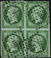 Oblitéré N° 12. 5c Vert, Bloc De 4, Filet Légèrement Touché En Bas, Bon Aspect, Signé Brun. - Stamps