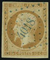 Oblitéré N° 13A, 10c Bistre Napoléon Type I, Oblitéré Loc PC Bleu 4018, Belle Frappe, TB - Stamps