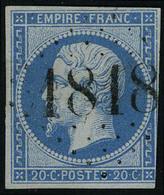 Oblitéré N° 14, 20c Bleu Obl D'essai 1818 Délié Très Belle Frappe Pothion Ind. 30 2300€ Sur Lettre - Stamps