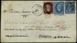 Lettre N° 14, 20c Bleu X 2 Sur L De Cognac 4 Jul 60 Pour La France, Réexpédiée à Londres, Aff à 1P Brun Rouge Obl Anglai - Stamps