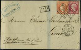 Lettre N° 16 + 17B, Les 2 Lég Défectueux, Sur Lettre Los PC Et Càd Bordeaux à Paris 27 Février 61 Pour Lima Pérou, Menti - Stamps