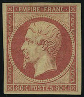 Neuf Avec Charnière N° 17Ab, 80c Carmin Clair T.B. Signé Miro, Brun + Certificat - Stamps