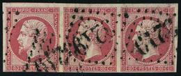 Oblitéré N° 17B, 80c Rose, Bande  Hor. De 3, Obl. GC 3219, T.B. - Stamps