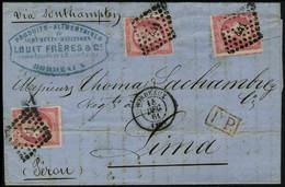 Lettre N° 17B, 80c Rose X 3ex - 2ex TB Et 1ex Touché Au Filet - Sur L Càd Bordeaux 14 Dec 61 Pour Lima Pérou, Mention Vi - Stamps