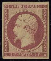 Neuf Avec Charnière N° 18, 1f Carmin, Jolies Marges, T.B. Signé Calves, Brun +  Certificat - Stamps