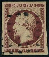 Oblitéré N° 18, 1f Carmin Obl Rouleau De Gros Points T.B. Signé + Certificat JF Brun - Stamps
