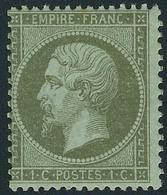Neuf Avec Charnière N° 19, 1c Olive, 2ex Nuances Différentes, Infime Point De Rousseur Sinon T.B. - Stamps